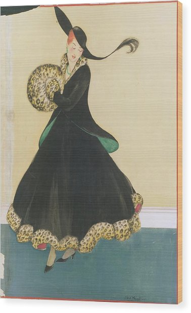 A Model In A Two Piece Suit Wood Print by E.M.A. Steinmetz