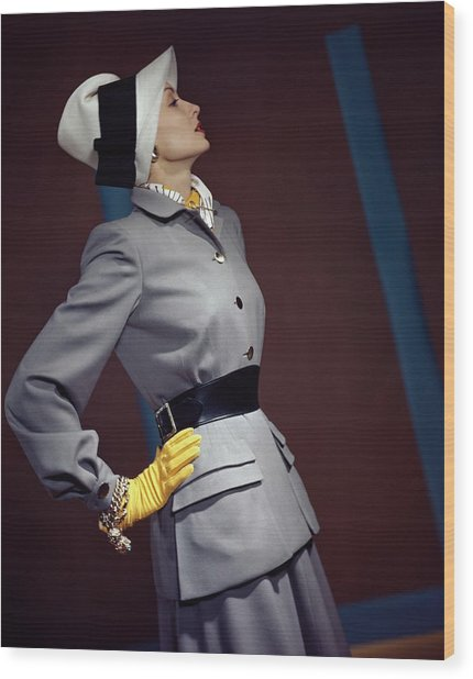 A Model In A Vogue Couturier Suit Wood Print