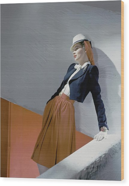 A Model Leaning On A Wall Wood Print by Horst P. Horst