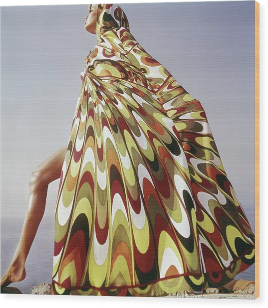 A Model Posing In A Colorful Cover-up Wood Print