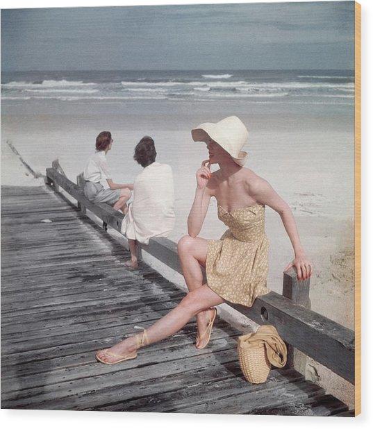 A Model Sitting On A Ramp Wood Print by Serge Balkin