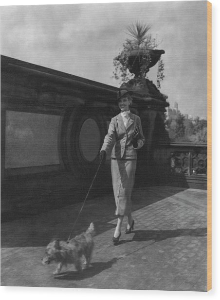 A Model Walking A Dog Wood Print