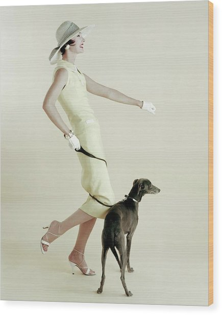A Model Walking A Dog Wood Print