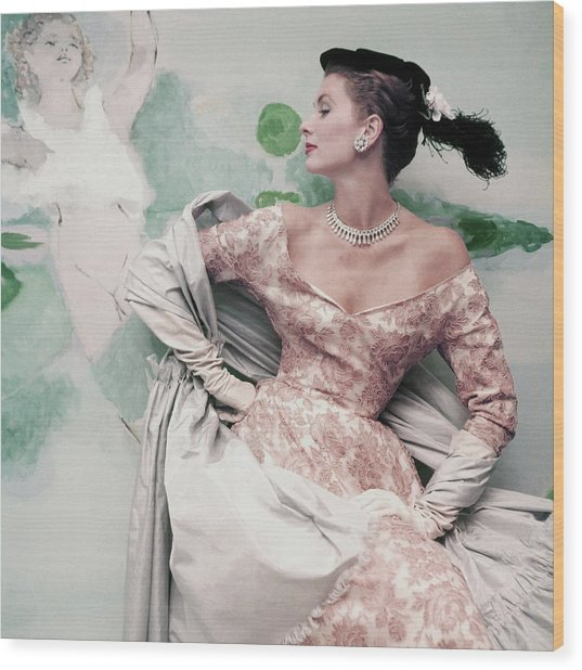 A Model Wearing A Balenciaga Dress Wood Print