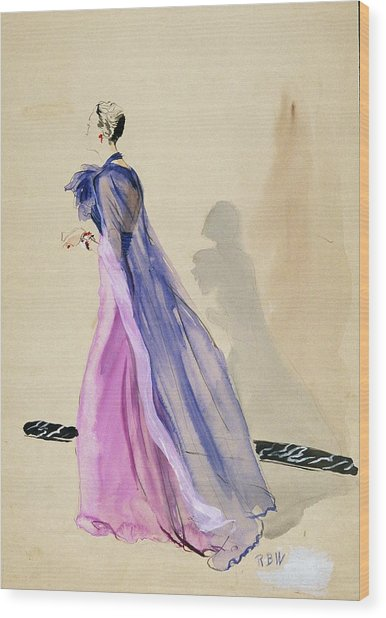 A Model Wearing A Blue Cape And Pink Chiffon Wood Print by Rene Bouet-Willaumez