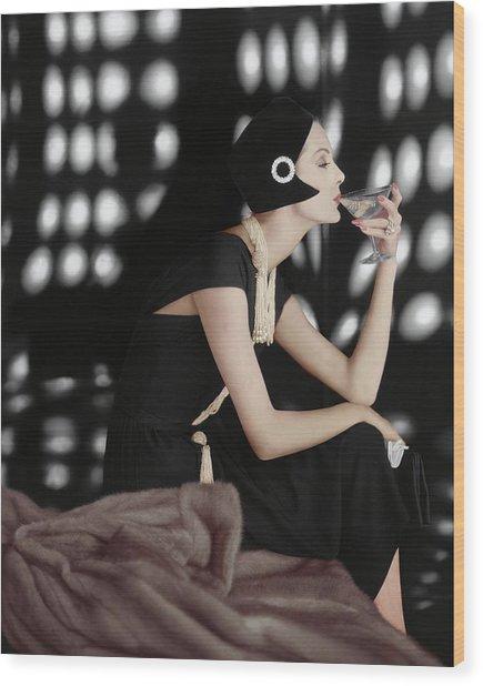 A Model Wearing A Branell Dress Wood Print by Karen Radkai