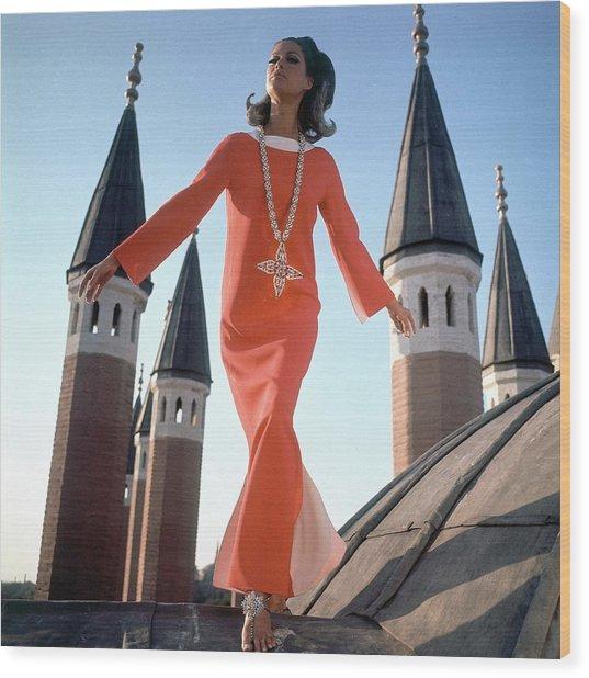 A Model Wearing A Christian Dior Dress Wood Print