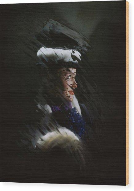 A Model Wearing A Coat And Hat Wood Print