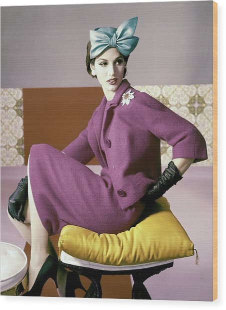 A Model Wearing A Dress Suit Wood Print by Horst P. Horst