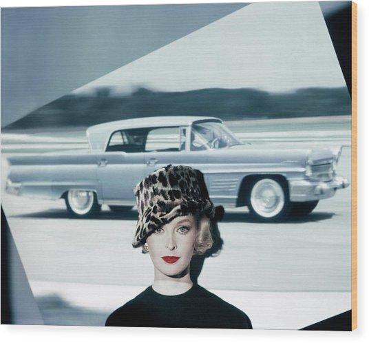 A Model Wearing A Leopard Print Hat Wood Print