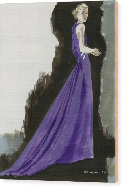 A Model Wearing A Purple Evening Dress Wood Print by Pierre Mourgue