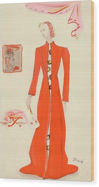 A Model Wearing A Schiaparelli Military Red Coat Wood Print by Christian Berard