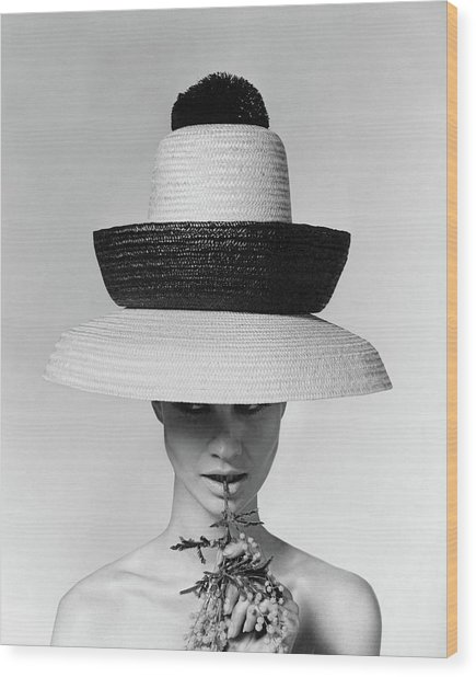 A Model Wearing A Sun Hat Wood Print