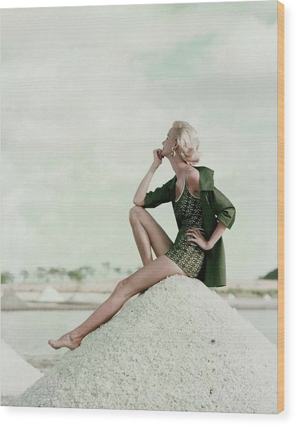 A Model Wearing A Swimsuit And Jacket Wood Print