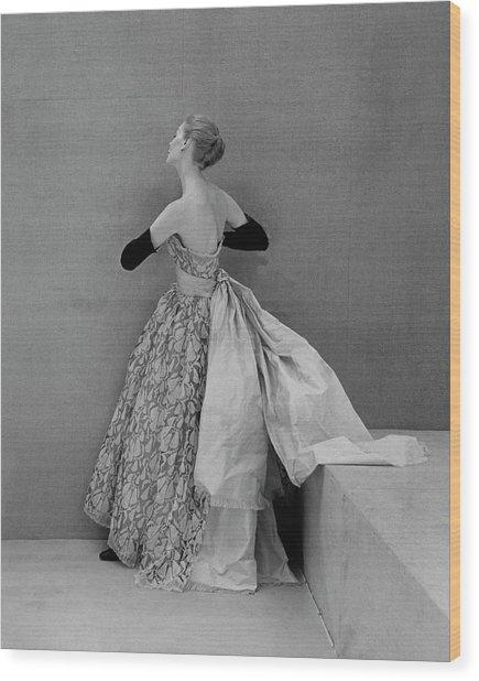 A Model Wearing An Evening Gown Wood Print