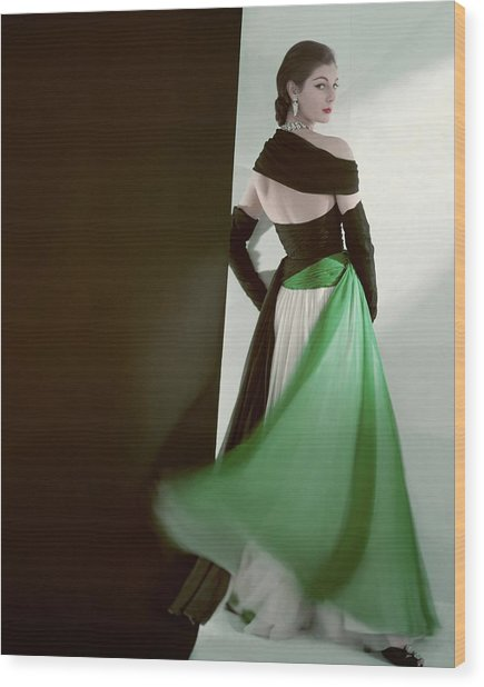 A Model Wearing An Evening Gown Wood Print