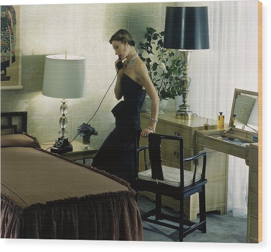 A Model Wearing An Evening Gown On The Telephone Wood Print