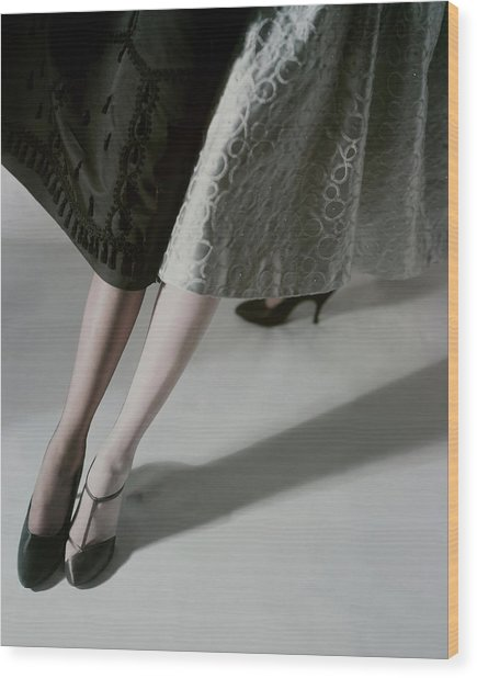 A Model Wearing Artcraft Stockings Wood Print