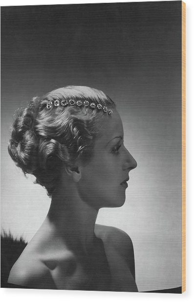 A Model Wearing Cartier Jewelry Wood Print