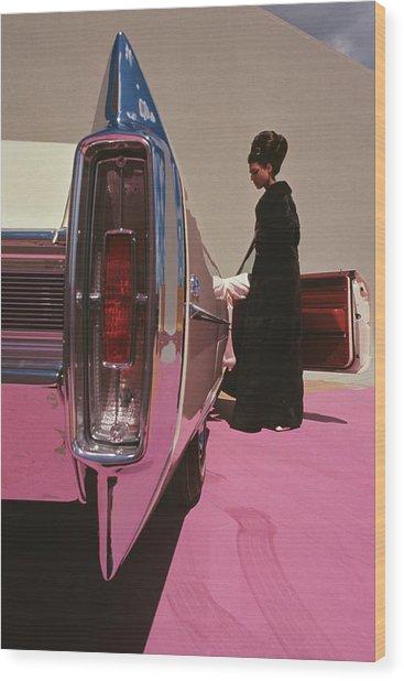 A Model Wearing Emeric Partos Entering A 1965 Wood Print