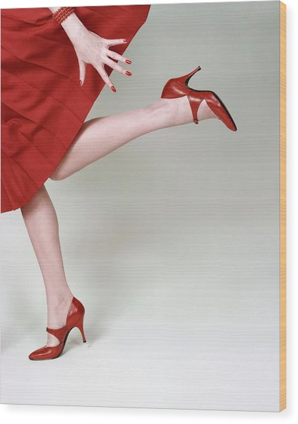 A Model Wearing Fleming-joffe Shoes Wood Print