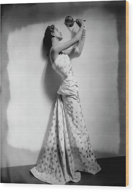 A Model Wearing Leaf Patterned Dress Wood Print by Cecil Beaton