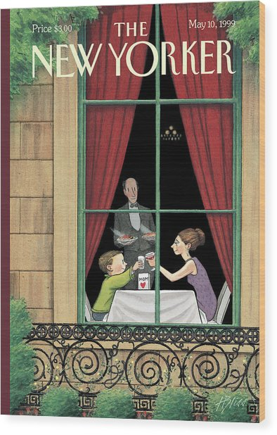 A Mother And Son Enjoy A Meal Together Wood Print