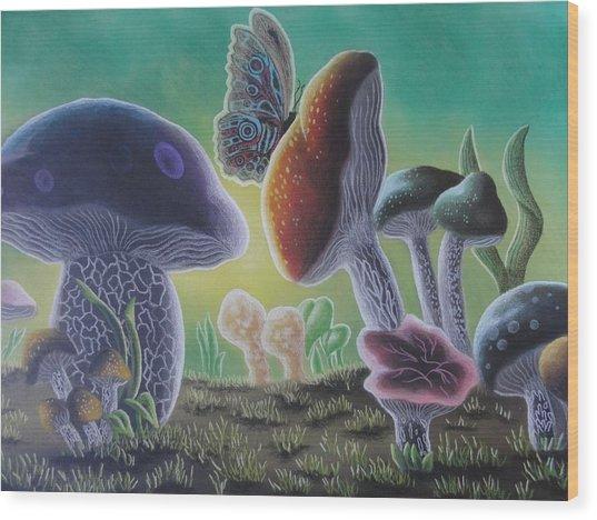 A Mushroom Kingdom Wood Print