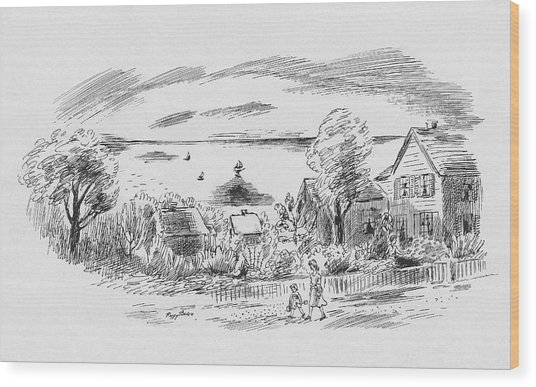 A New England House Wood Print