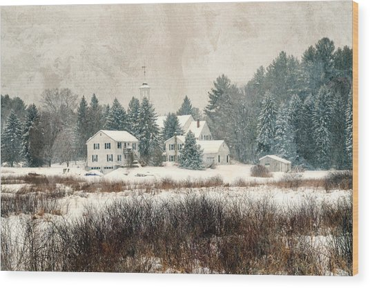 A New England Village In Winter- Antique - Textured Wood Print