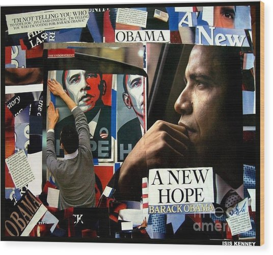 Barack Obama A New Hope Wood Print by Isis Kenney
