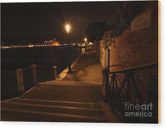 A Night Walk In Venice Wood Print