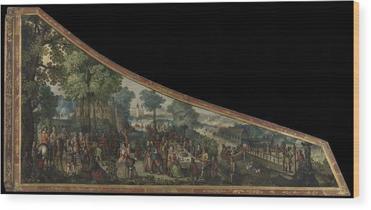A Painting On A Harpsichord Lid With A Party By A River Wood Print