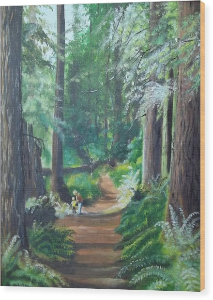 A Peaceful Walk In The Redwoods Wood Print by Terry Godinez
