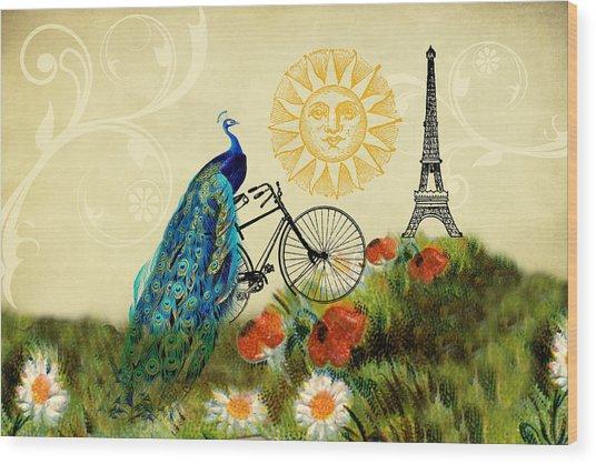 A Peacock In Paris Wood Print