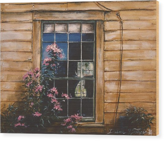 A Peek Through The Window Wood Print