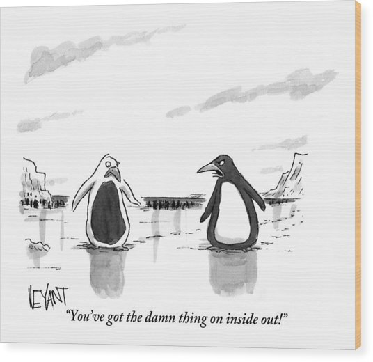 A Penguin Is Seen Talking To Another Penguin Wood Print