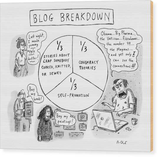 A Pie Chart Titled Blog Breakdown Is Divided Wood Print