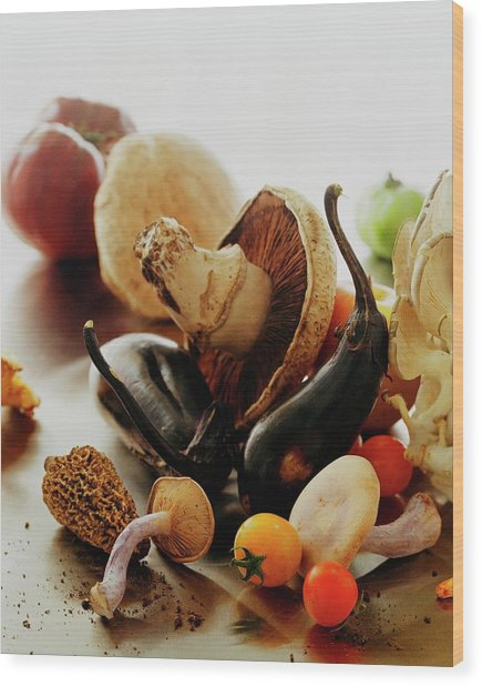 A Pile Of Vegetables Wood Print