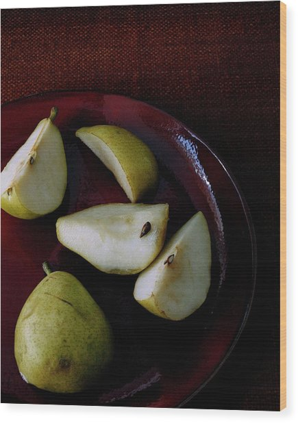 A Plate Of Pears Wood Print