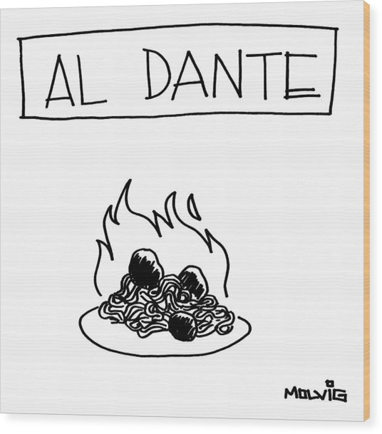 A Plate Of Spaghetti And Meatballs Is Burning Wood Print