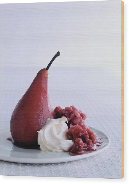 A Poached Pear With Cream Wood Print