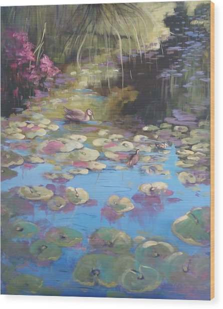 A Pond Reflection Wood Print