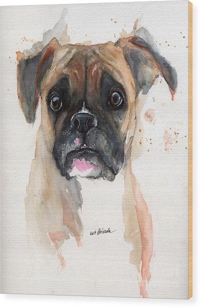 A Portrait Of A Boxer Dog Wood Print