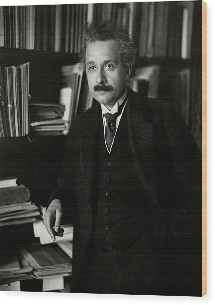 A Portrait Of Albert Einstein Wood Print