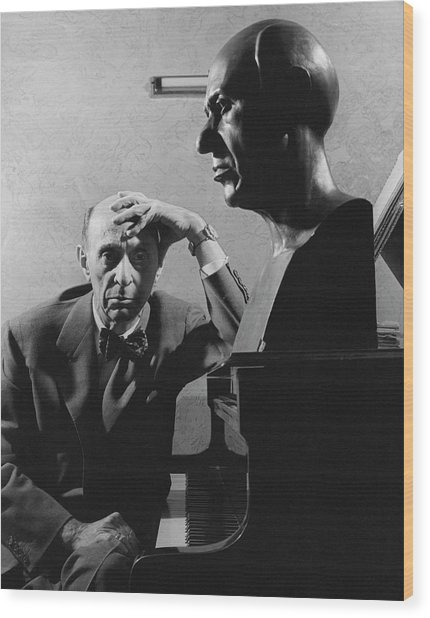 A Portrait Of Arnold Schoenberg Leaning Wood Print by Crane Ralph