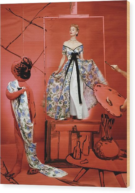 A Portrait Of Lisa Fonnsagrives On A Red Set Wood Print by Horst P. Horst
