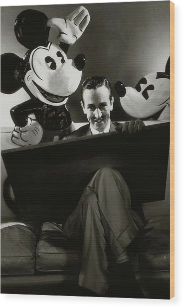 A Portrait Of Walt Disney With Mickey And Minnie Wood Print