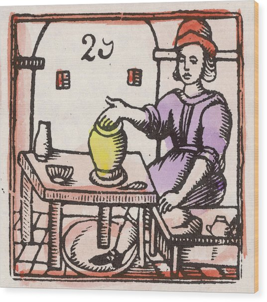 A Potter At The Wheel          Date Wood Print