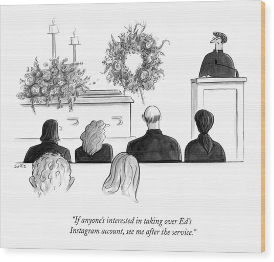 A Priest Makes A Eulogy Wood Print